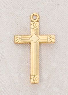 """22kt. Gold over Sterling Silver, Gold Cross Medal with 18"""" Chain, 7/8"""" H CR001 http://www.amazon.com/dp/B0074Q2NQW/ref=cm_sw_r_pi_dp_beSewb1389ZGJ"""