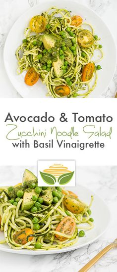 Avocado and Tomato Zucchini Noodle Salad with Basil Vinaigrette