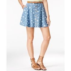 American Rag Star-Print Denim Mini Skirt, ($20) ❤ liked on Polyvore featuring skirts, mini skirts, multi, short mini skirts, white denim mini skirt, denim miniskirt, white skirt and short denim skirts
