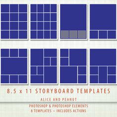 8.5x11 -  8 x PSD Storyboard Photographer & Digital Scrapbook Storyboard Templates - Photoshop and Photoshop Elements - Includes Actions