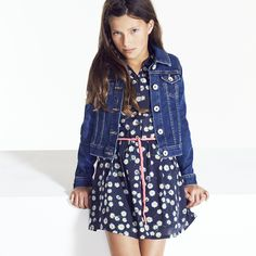 Mix a pretty dress with a cool Hilfiger denim jacket for Little Miss Sophisticated