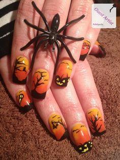 Silhouette Halloween Nail Art