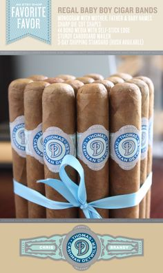 For Jim, before Ollie is born...  16 Cigar Bands - Custom Printed Blue Labels - Regal Baby Boy