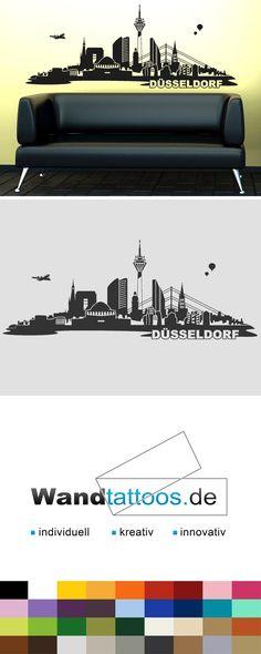 Wandtattoo Skyline Düsseldorf als Idee zur individuellen Wandgestaltung. Einfach Lieblingsfarbe und Größe auswählen. Weitere kreative Anregungen von Wandtattoos.de hier entdecken!