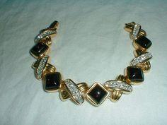 vintage daniel swarovski pave crystal bracelet gold black clear sparkling - Quality Vintage Jewelry