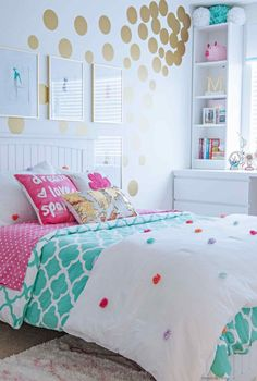 Tween Girl's Bedroom Makeover - REVEAL Teen Girl Bedroom Decorating Ideas - Contemporary with IKEA Furniture in Turquoise and White and Gold Bedroom Ideas For Teen Girls, Cute Bedroom Ideas, Teenage Girl Bedrooms, Bedroom Girls, Girl Rooms, Blue Bedroom, Tween Girl Bedroom Ideas, Turquoise Teen Bedroom, Diy Bedroom