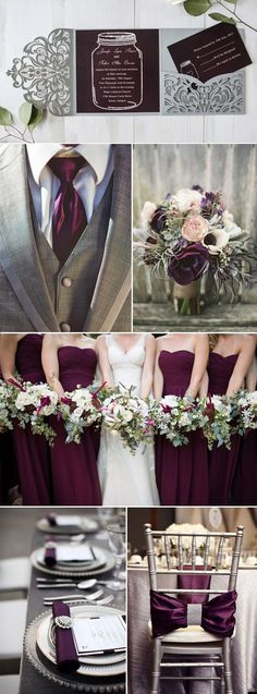 dark grey and plum vintage wedding ideas
