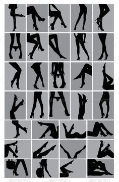 Legs Silhouettes — Vector EPS #silhouette #bag • Available here → https://graphicriver.net/item/legs-silhouettes/3743708?ref=pxcr Boudiour Poses, Poses For Photoshoot, Clipart Design, Boudoir Legs, Boudoir Photos, Illustrator Cs, Picture Poses, Photo Poses, Bouidor Photography