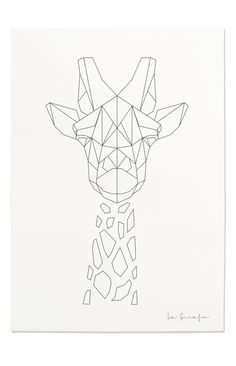 Giraffe Print, Geometric Giraffe Print, Nursery Animal Wall Art, Black and… Lexi Li Geometric Drawing, Geometric Art, Geometric Animal, Geometric Giraffe Tattoo, Geometric Embroidery, Geometric Painting, String Art Templates, Giraffe Art, Giraffe Drawing