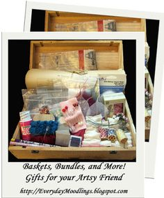 Great ideas for #gift #basket inspiration...gifts for your artsy friend! on the Everyday Moodlings blog.