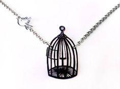 Free Bird--Deux parties--collier pendentif, Shrink Plastic bijoux--coffret cadeau inclus sur Etsy, 18,67€