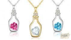 Swarovski Love Bottle Silver or Gold Overlay Pendant Necklace