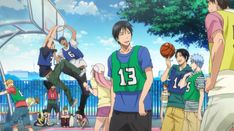 """Kise is done, Kagami and Aomine are in the zone, Hyuuga get angry, Midorima and Imayoshi are talking with a penguin (wtf?) Sakurai says """"Sorry"""", Kasamatsu-senpai is playing with Nigou, Momoi get angry, too, Izuki said a terrible joke, Takao be cool, Kuroko is be, Riko is in the background, Teppei is smiling (as always) My family <3 <3 <3"""