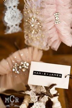 Beautiful wedding garters by Maime + James