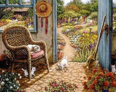 Potting Shed a painting of an outdoor shed with cobblestone floors is the…
