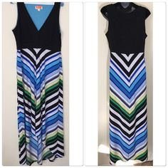 """High Low Chevron Maxi Pre-owned hi lo chevron maxi, has been dry cleaned.no rips, tears, in great condition size 10, colors in the dress are black, blue,powder blue, grey, lime green, charcoal. 95% polyester 5% spandex. 43"""" in length in the front, 53"""" in length in the back. Dress does have some stretch. Roz&Ali Dresses High Low"""