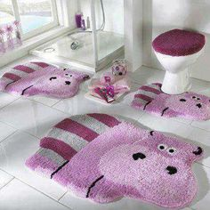 Luxury Bathroom Rugs and Mats Cute Hippo, Baby Hippo, Wc Set, Bathroom Rugs And Mats, Funky Bathroom, Modern Bathroom, Hippopotamus For Christmas, Latest Design Trends, Creative Decor