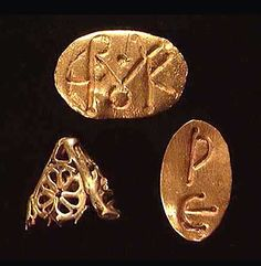 THREE BYZANTINE GOLD FRAGMENTS 1) Gold bezel from a ring, Constantinople (?), first half of VI century. Oval bezel, engraved with monogram. 13 x 8 mm. For a similar, see: Catalog of the Byzantine and Early Medieval Antiquities in The Dumbarton Oaks Collection. Washington, D.C., 1965, vol. II, cat. # 78. 2) Gold bezel from a ring, engraved with two Greek letters: Ρ Ε. 3) Fragmentary gold openwork conical bead.