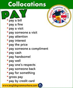 Collocations with PAY in English – English Grammar Here – English Lessons English Grammar Rules, Learn English Grammar, English Writing Skills, English Vocabulary Words, Learn English Words, English Phrases, English Study, English Lessons, English English
