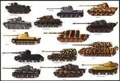 Panzers of the Wehrmacht. This shows fourteen different tracked vehicles fielded by the Nazi Army in World War Two. This picture illustrates a wide variety of camouflage patterns that were attempted.