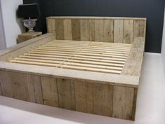 Marktplaats.nl - Tweepersoons bed STEIGERHOUT / bed / kast / sloophout /plank - Slaapkamer | Bedden