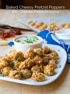 Baked Cheese Curd Pretzel Bites by A Spicy Perspective. An easy Game Day snack everyone will love. Baked Cheese Curd Pretzel Bites with spicy chipotle ranch dressing are a MUST to serve at your next party!