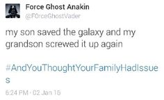 Force Ghost Anakin tweets. Can we just take a moment to appreciate the parody accounts that have been created because of TFA?