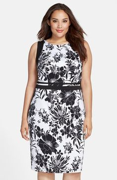 Adrianna Papell Cutout Back Floral Sheath Dress (Plus Size) available at #Nordstrom