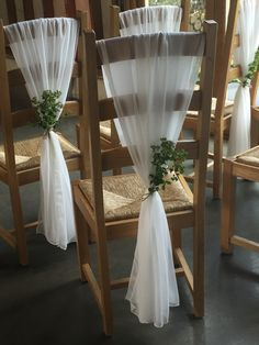 Our stunning vertical chair sashes with rustic string and foliage. www.tohaveandtohireweddings.com