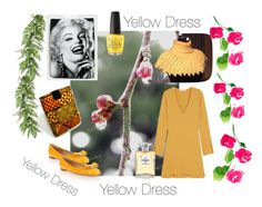 """Yellow Dress"" by galina-780 ❤ liked on Polyvore featuring OPI, See by Chloé, Salvatore Ferragamo, Nook, Chanel and L'Agence"