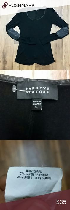 Barneys new york women's sheer black shirt Great brand, leather trim on collar and leather padded elbows. Never worn,  no issues . 95% rayon 5% spandex Barneys New York Tops