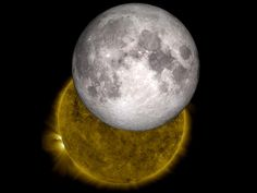 This is an image of a lunar eclipse as viewed by NASA's Solar Dynamics Observatory, or SDO, with a model of the moon from NASA's Lunar Reconnaissance Orbiter replacing the lunar shadow.