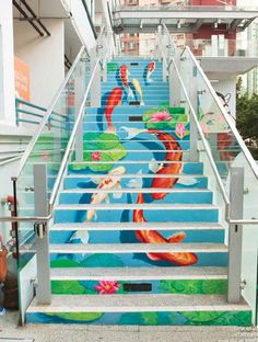A Stair Art Project in PMQ, a place for creative lifestyle experience in Hong Kong Murals Street Art, Street Art Graffiti, Stair Art, Stair Decor, Escalier Art, Interior Staircase, Beautiful Stairs, Weekend Vacations, Creative Hub