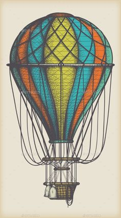Retro colored hot air balloon on vintage beige background