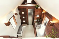 the miterbox tiny house on wheels - View of the Other Loft Above Washroom