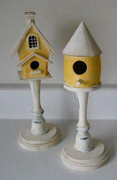 Pedestal bird houses.