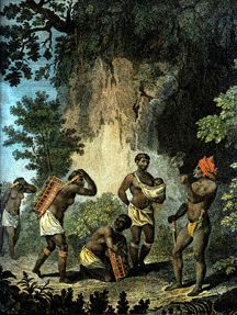 Garifuna leader Joseph Chatoyer and his Wives.    The Garifuna were a Mixed race People who lived on the Caribbean island of St.Vincent and the Grenadines.    The Garifuna fought and held european forces at bay until the late 18th century; after the sceond carib war they were defeated and most Garifuna were deported to Honduras and Belize where they exist as an ethnic minority.