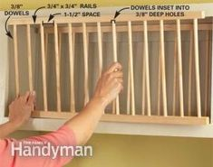 """Cut, assemble and install the two plate rack """"ladders."""" Use short screws to secure the ladders in the cabinet opening. We set the rear ladder 4 in. away from the back of the cabinet and the front ladder snug against the back of the face frame."""