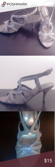 Marinelli summer heeled sandals Gray summer sandals with 3 inch heels and studded rhinestones. Never worn. Marinelli Shoes Heels