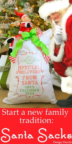 Start a new family tradition: Santa Sacks! Use our printable to iron on a pillowcase. Kids leave these empty on Christmas Eve and wake to find Santa has filled the sacks with toys! No wrapping presents - moms will LOVE this! Design Dazzle