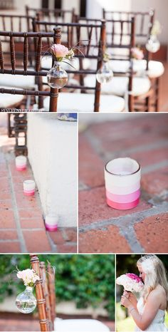 like the small vases on the chairs... from ombre wedding ideas