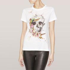 Occidental Street Fashion Skull Flower Bird Printed Round Neck Short Sleeve  Cotton T-shirt 1c28c928cd7d