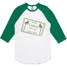 theIndie Samoa Passport Stamp (Green) 3/4-Sleeve Raglan Baseball T-Shirt