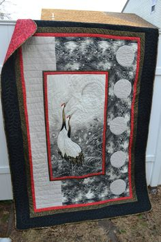 Handmade Asian Quilt Retirement Gift Fathers Day Present Wedding Gift Modern Zen Crane Inspired Red Black Cream Throw Wall Hanging Quilt Quilting Projects, Quilting Designs, Sewing Projects, Panel Quilts, Quilt Blocks, Asian Quilts, Asian Fabric, Oriental, Fathers Day Presents