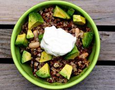 cowboy quinoa - avocado, beans and greek yogurt