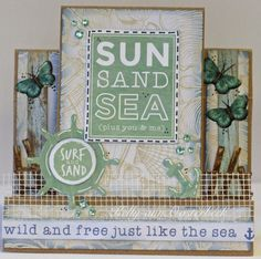 A step card By Kelly-ann Oosterbeek made using the Coastal Escape Collection from Kaisercraft. www.amothersart.com.au Step Cards, Wild And Free, You And I, Coastal, Card Making, Paper, Frame, Originals, Layouts