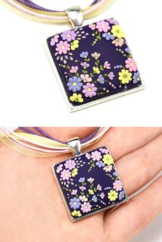 Floral Pendant Necklace Purple Yellow Pink Lilac by KittenUmka