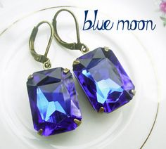 Sapphire Estate Style Earrings, old hollywood glam, vintage inspired, mothers day jewelry, deep bue Foil Rectangle crystal drops, by deborahmcgovernjewelry on etsy, $21.00
