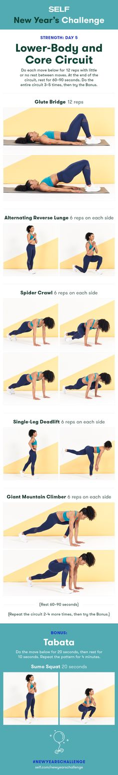 Welcome to our #NewYearsChallenge! Try this lower body and abs workout for women with glute bridges, lunges, and deadlifts for a strong butt and powerful legs!