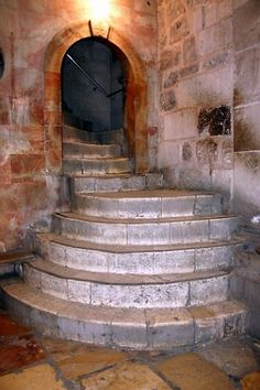 Steps lead to Calvary (or Golgotha),the place where Jesus was crucified. Church of the Holy Sepulchre - Jerusalem, Israel